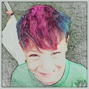 Boy with wild colored hair